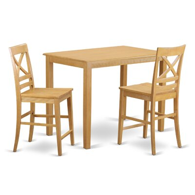 Yarmouth 36 3 Piece Pub Table Set Color: Oak