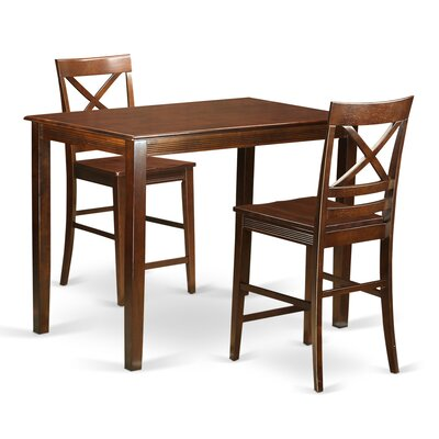 Yarmouth 36 3 Piece Pub Table Set Color: Mahogany
