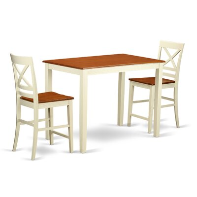 Yarmouth 36 3 Piece Pub Table Set Color: Buttermilk/cherry