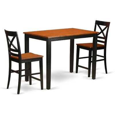 Yarmouth 36 3 Piece Pub Table Set Finish: Black/cherry