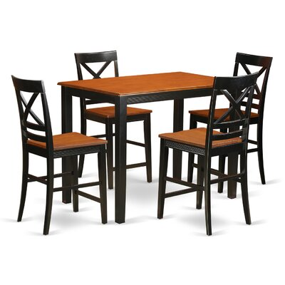 Yarmouth 36 5 Piece Pub Table Set Color: Black/cherry