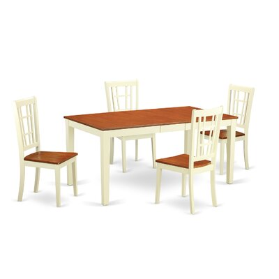 Pillar 5 Piece Dining Set Color: Buttermilk and Cherry