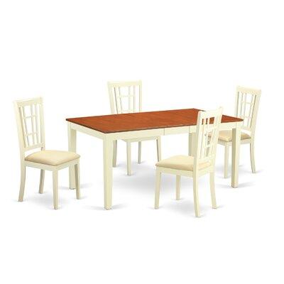 Pillar 5 Piece Dining Set Color: Buttermilk and Saddle Brown
