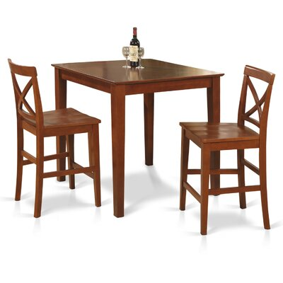 3 Piece Counter Height Dining Set Finish: Dark Brown