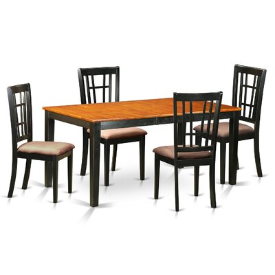 Nicoli 5 Piece Dining Set Finish: Black and Saddle Brown, Chair Upholstery: Microfiber