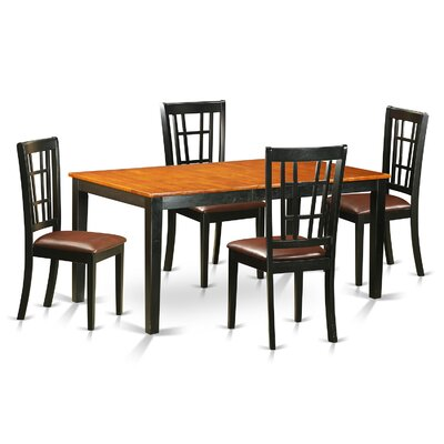 Nicoli 5 Piece Dining Set Chair Upholstery: Wood Seat, Finish: Buttermilk and Cherry