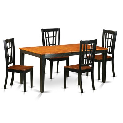 Nicoli 5 Piece Dining Set Chair Upholstery: Wood Seat, Finish: Black