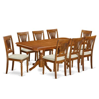 Pillsbury Modern 9 Piece Dining Set with Double Pedestal Table Legs
