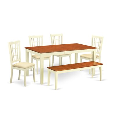 Pillar 6 Piece Extendable Dining Set Finish: Buttermilk/Cherry
