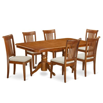 Pillsbury 7 Piece Wood Dining Set Chair Upholstery: Upholstered