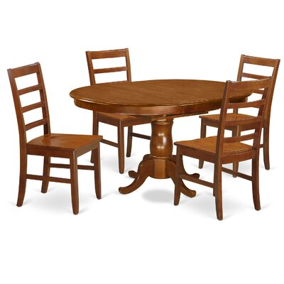 Portland 5 Piece Dining Set Upholstery: Wood Seat