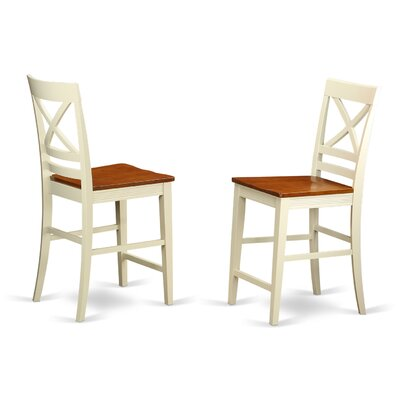 Pilger Bar Stool (Set of 2) Finish: Buttermilk/Cherry