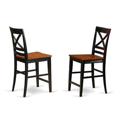 Quincy Bar Stool (Set of 2) Finish: Black/Cherry