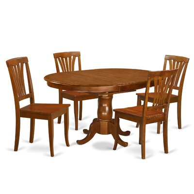 Portland 5 Piece Dining Set Fabric: Wood
