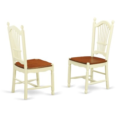Dover Solid Wood Dining Chair (Set of 2) Finish: Buttermilk/Cherry