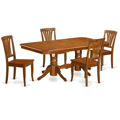 Pillsbury 5 Piece Dining Set with Double Pedestal Table Legs Chair Upholstery: Non-Upholstered Wood