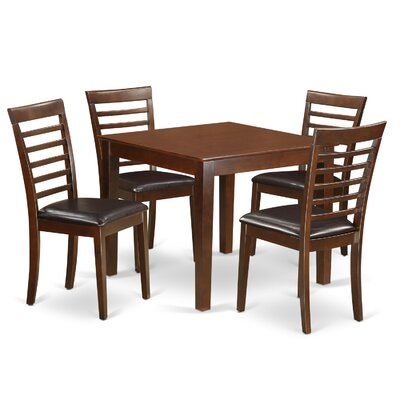 Oxford Faux Leather 5 Piece Dining Set