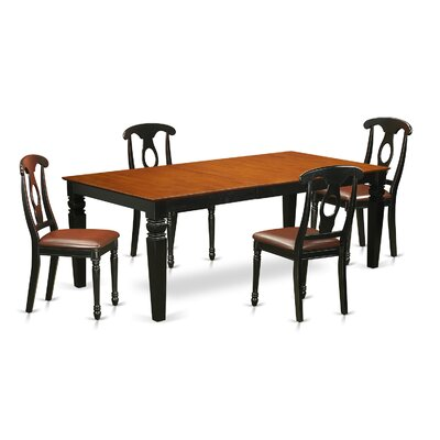 Beesley 5 Piece Black/Cherry Dining Set Table Finish: Cherry