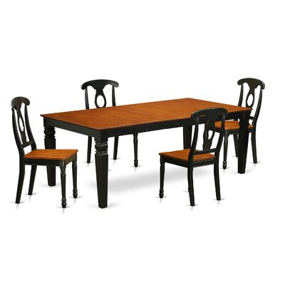 Beesley 5 Piece Black/Cherry Wood Dining Set