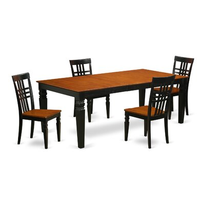 Beesley 5 Piece Wood Dining Set Chair Finish: Black