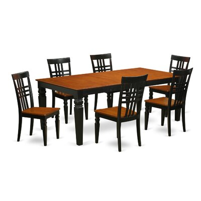 Beesley 7 Piece Wood Dining Set Chair Finish: Black