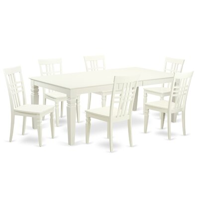 Beesley 7 Piece Linen White Wood Dining Set Finish: Linen White