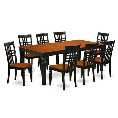 Beesley 9 Piece Wood  Dining Set Chair Finish: Black