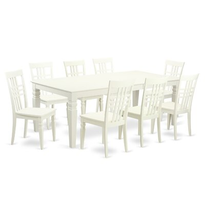Beesley 9 Piece Linen White Wood Dining Set Color: Linen White