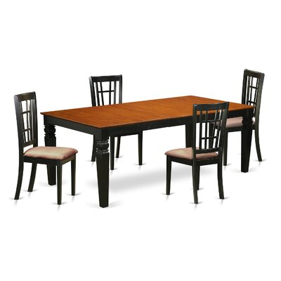 Beesley 5 Piece Rectangular HardWood Dining Set Table Finish: Cherry