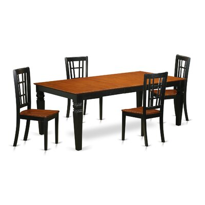 Beesley 5 Piece Black/Cherry HardWood Dining Set
