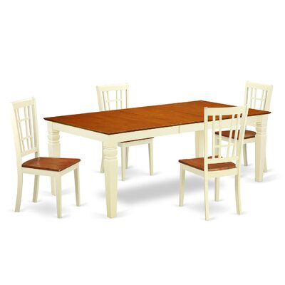 Beesley 5 Piece Rectangular Buttermilk/Cherry Dining Set