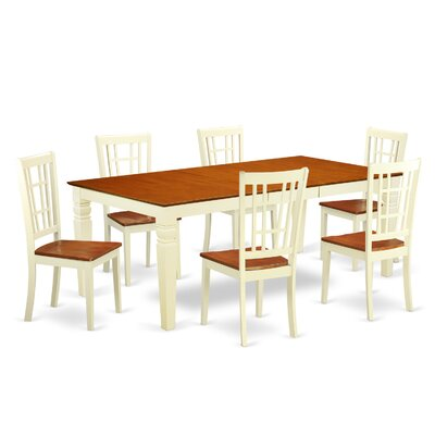 Beesley 7 Piece Rectangular Buttermilk/Cherry Dining Set
