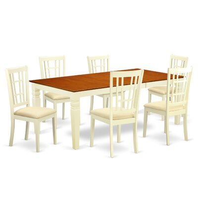 Beesley 7 Piece Buttermilk/Cherry HardWood Dining Set