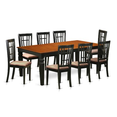 Beesley 9 Piece Dining Set Finish: Black, Upholstery Color: Brown
