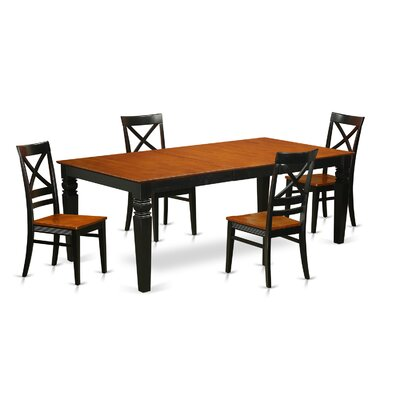 Beesley 5 Piece Solid Wood Dining Set Chair Finish: Black