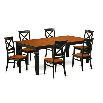 Beesley 7 Piece Rectangular Dining Set Chair Finish: Black