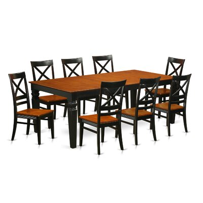 Logan 9 Piece Dining Set Chair Finish: Black