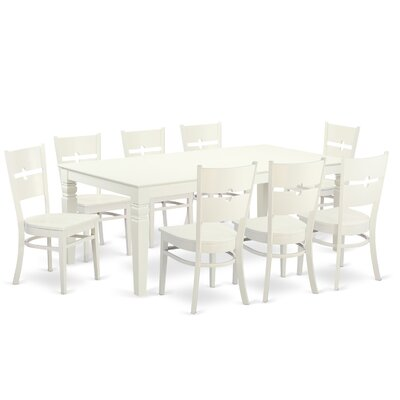 Beesley 9 Piece Linen White Dining Set