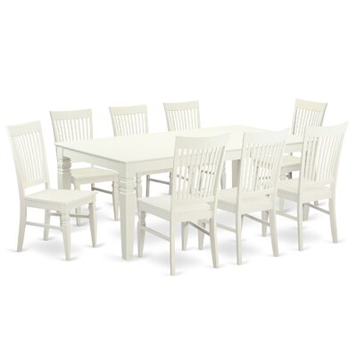 Beesley 9 Piece Black Dining Set Color: Linen White