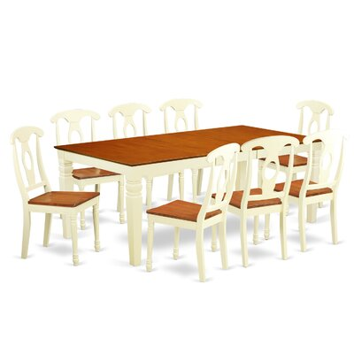 Beesley 9 Piece Rectangular Buttermilk/Cherry Dining Set