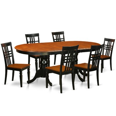 7 Piece Dining Set Chair Finish: Black