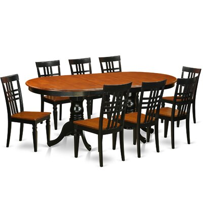 9 Piece Dining Set Chair Finish: Black