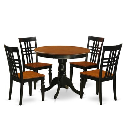 5 Piece Dining Set Finish: Black/Cherry
