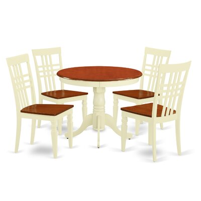 5 Piece Dining Set Finish: Buttermilk/Cherry