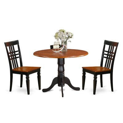 3 Piece Dining Set Chair Finish: Black