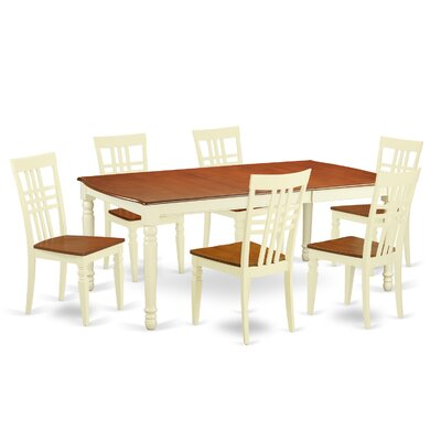 7 Piece Dining Set in Buttermilk/Cherry