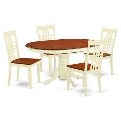 5 Piece Dining Set Chair Finish: Buttermilk