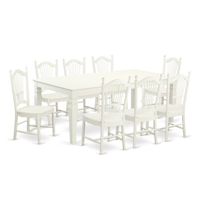 Beesley 9 Piece Linen White Hardwood Dining Set