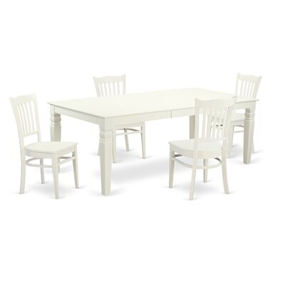 Beesley 5 Piece Linen White Dining Set