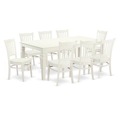 Beesley 9 Piece Contemporary Linen White Dining Set